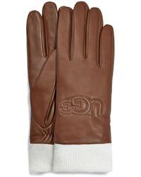 UGG Knit Cuff Leather Logo Handschuhe für aus Leder - Braun