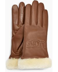 UGG Classic Leather Logo Glove Classic Leather Logo Glove - Brown