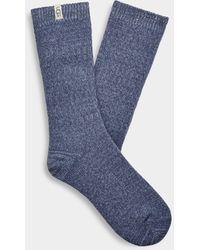 UGG Rib Knit Slouchy Crew Sock Polyester Socks - Blue