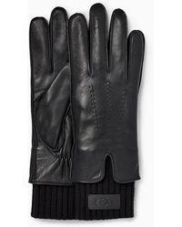 UGG Leather Tech & Knit Cuff Gants pour - Noir