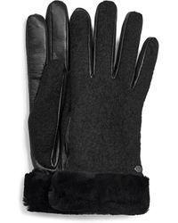 UGG Fabric Leather Shorty Glove - Black