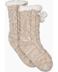 UGG - Women's Pom Pom Fleece-lined Crew Sock - Lyst