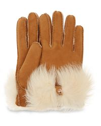 UGG Long Pile Bow Glove - Brown