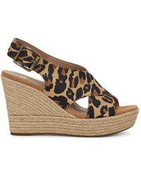 UGG Espadrilles Harlow Leopard Sandalen mit Keilabsatz aus Veloursleder - Braun