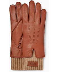 UGG Leather Tech & Knit Cuff Gants pour - Marron