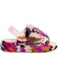 UGG Fluff Yeah Slide Motlee Slides - Pink