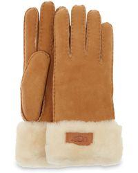 UGG Shorty Glove With Leather Trim Handschoenen - Grijs