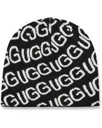 UGG Logo Knit Beanie Hat - Black
