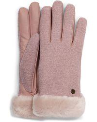UGG Fabric Leather Shorty Handschuhe für aus Leder - Pink