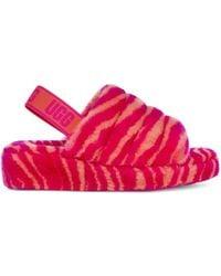 UGG Fluff Yeah Zebra Sandales à Enfiler pour - Rose