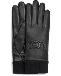 UGG Knit Cuff Leather Logo Handschuhe für aus Leder - Schwarz