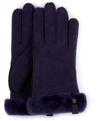 UGG Shorty Glove With Leather Trim - Blue
