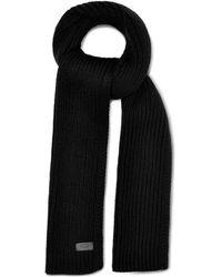 UGG Ribbed Knit Stripe Scarf Nylon - Black