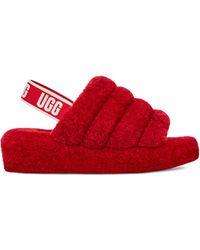 UGG Fluff Yeah Slide Sandalen für aus Schaffell - Rot