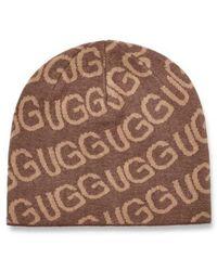 UGG Logo Knit Beanie Hat - Brown