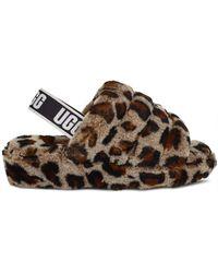 UGG Hausschuhe Sandale Fluff Yeah aus Fell mit Leopardenmuster - Braun