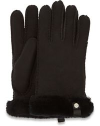 UGG Shorty Glove With Leather Trim Handschoenen - Zwart