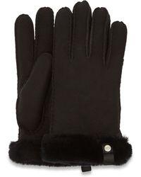 UGG Shorty Handschuhe With Leather Trim Handschuhe Stiefel für aus Leder - Schwarz