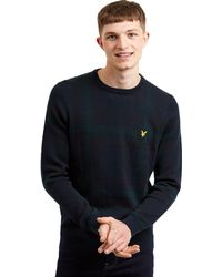 Lyle & Scott Tartan Knit Jumper - Blue