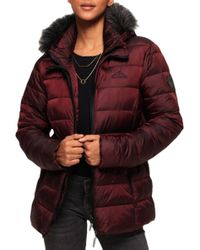 Superdry Women Apos;s Taiko Padded Faux Fur Jacket Women's Jacket In Red