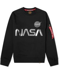 Alpha Industries Nasa Reflective Cotton-jersey Sweatshirt - Black