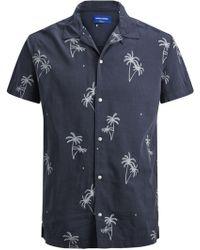 Jack & Jones Perry Short Sleeve Palm Tree Print Shirt - Blue