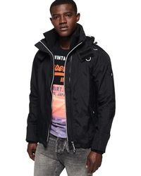Superdry Technical Hooded Pop Zip Sd-windcheater - Black