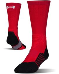 Under Armour Men's Ua Basketball Drive Crew Socks - Red