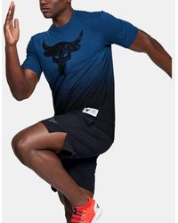 Under Armour Men's Project Rock Bull Graphic Short Sleeve - Blue