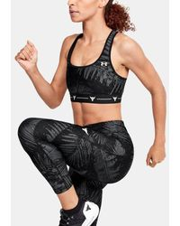 Under Armour Women's Project Rock Armour Mid Crossback Printed Sports Bra - Black