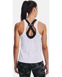 Under Armour Camiseta sin mangas UA Fly-By para mujer - Blanco