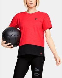 Under Armour Women's Project Rock Charged Cotton® Short Sleeve - Red