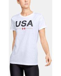 Under Armour Women's Ua Usa Short Sleeve - White