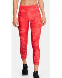 Under Armour Pantalón pesquero con estampado Project Rock HeatGear® Armour para mujer - Rojo