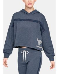 Under Armour Project Rock Taped Fleece Hoodie - Blue