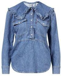 Ganni Jeans-Bluse Blau