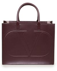 Valentino Tote Bag mit Logo-Prägung Bordeaux - Rot