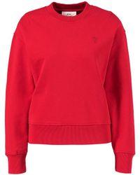 AMI Baumwoll-Sweatshirt mit Logo-Detail Rot