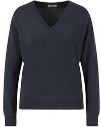 Brunello Cucinelli - Cashmere V-Neck Pullover Marineblau - Lyst