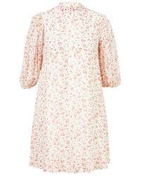 Ganni Viskose-Kleid mit Stehkragen Multi - Natur