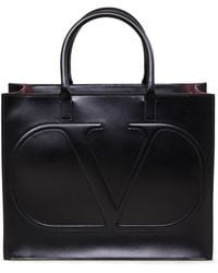 Valentino Tote Bag mit Logo-Prägung Schwarz