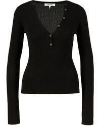 FRAME Woll-Seiden-Pullover mit V-Ausschnitt Schwarz