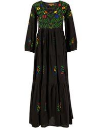 Muzungu Sisters Baumwoll-Kleid 'Frangipani' mit Blumen-Stickerei Schwarz