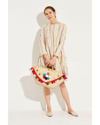 Muzungu Sisters Midi-Kleid mit Streifenmuster Crème/Multi - Mehrfarbig