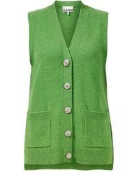 Ganni Cashmere-Weste Grün