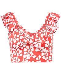 Paloma Blue Seiden-Crop-Top 'Beth' mit floralem Print Rot/Weiß