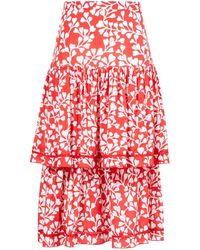 Paloma Blue Midi-Seidenrock 'Brooke' mit floralem Print Rot/Weiß