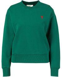 AMI - Baumwoll-Sweatshirt mit Logo-Detail Grün - Lyst