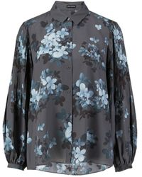 Iris Von Arnim Plisseé-Bluse mit floralem Print Grau - Blau
