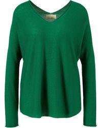 120% Lino Cashmere-Pullover mit V-Ausschnitt Grün